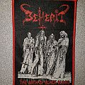 Beherit - The Oath of Black Blood red bordered woven patch