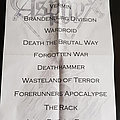 Asphyx Quebec Deathfest II Setlist Other Collectable