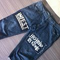 Worn out homemade patches on shitty cutoff jeans *OLD*