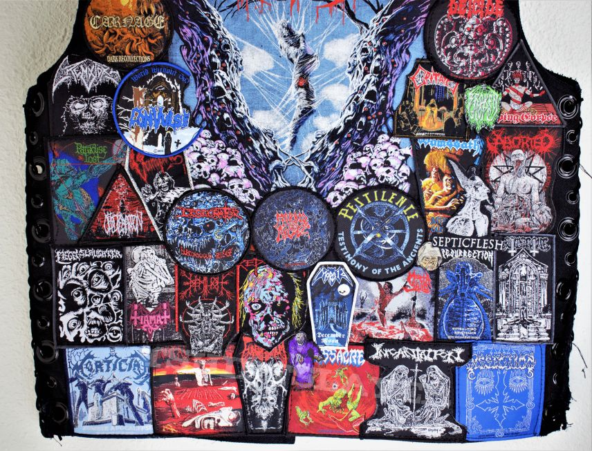death metal vest update some pins and patches