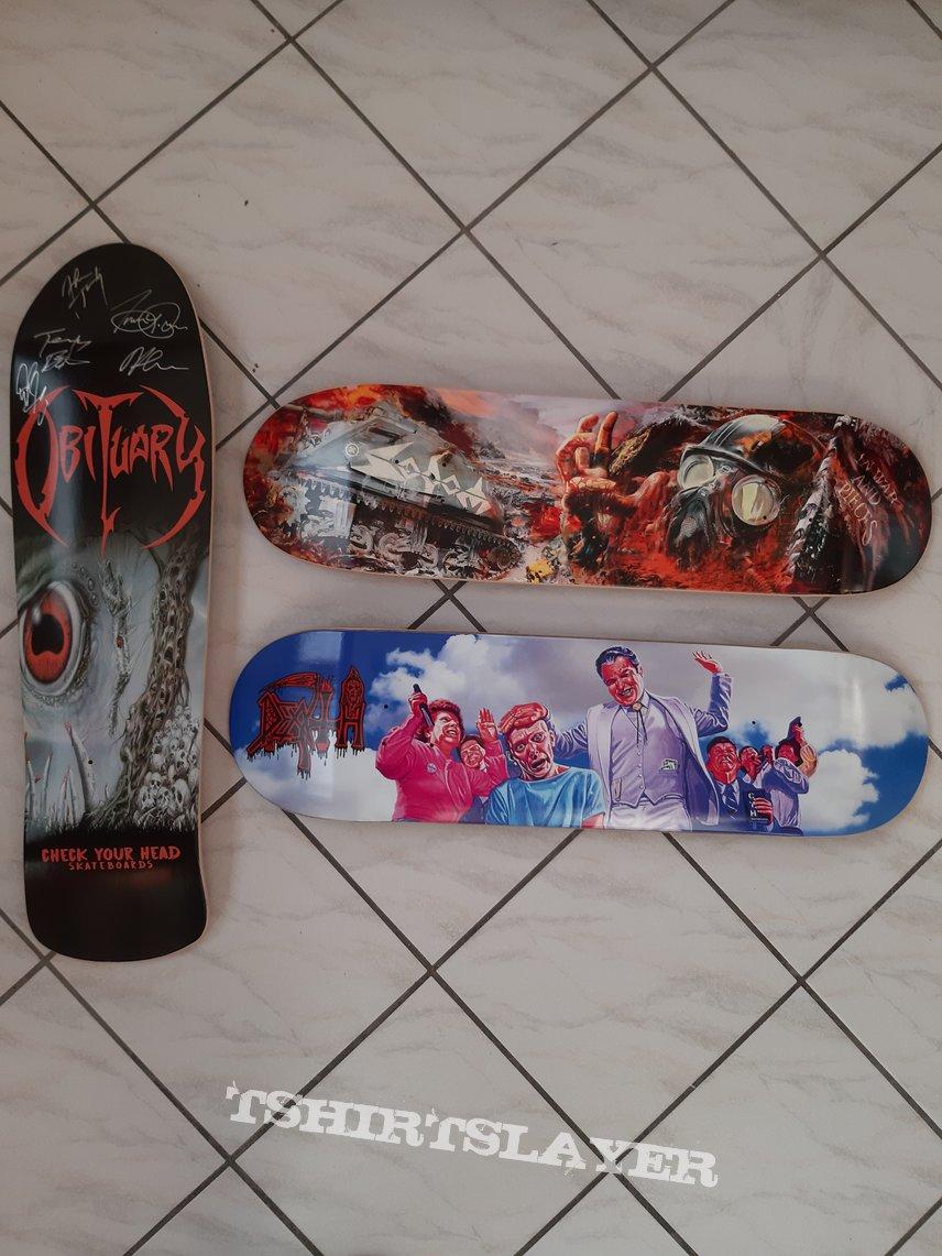 DEATH, OBITUARY, SODOM skateboard decks