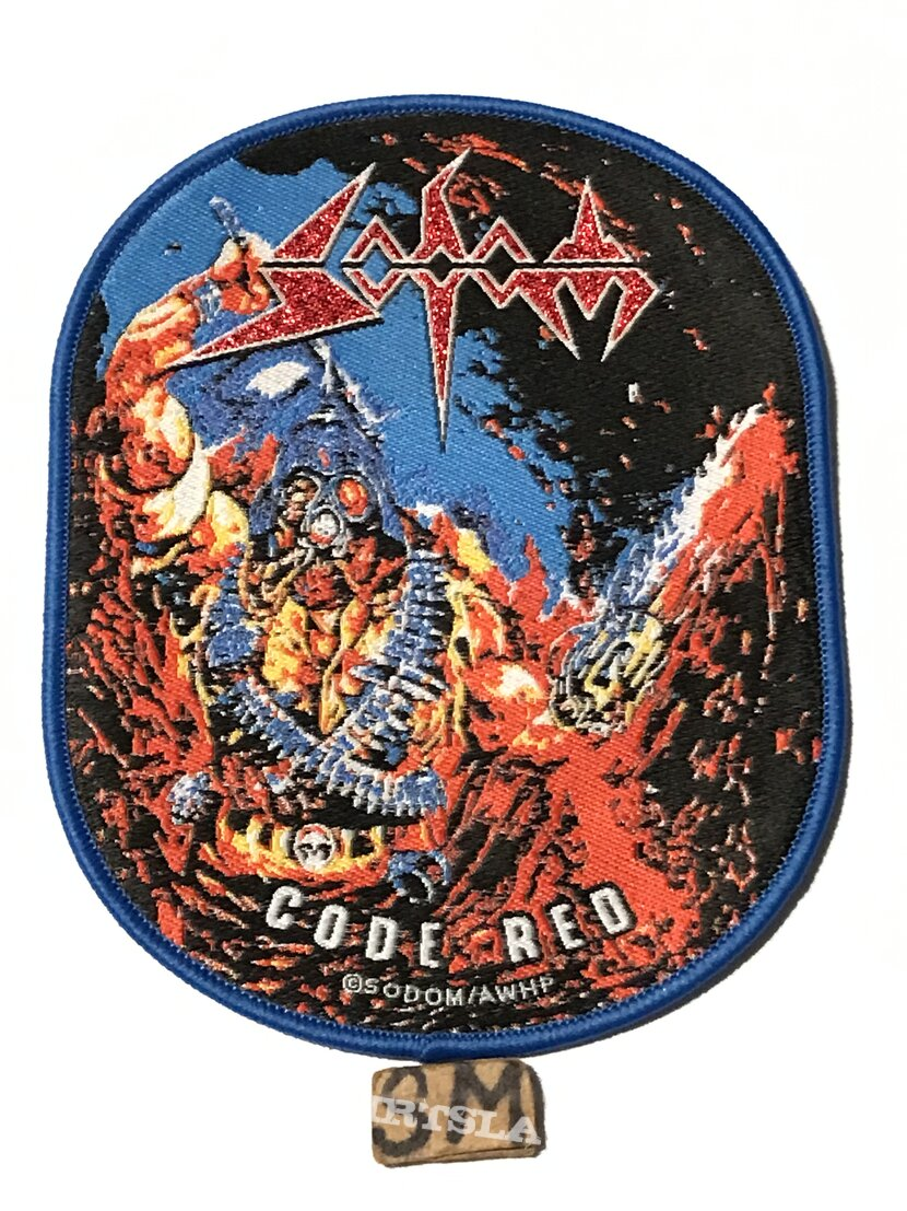 Sodom Code Red patch blue border