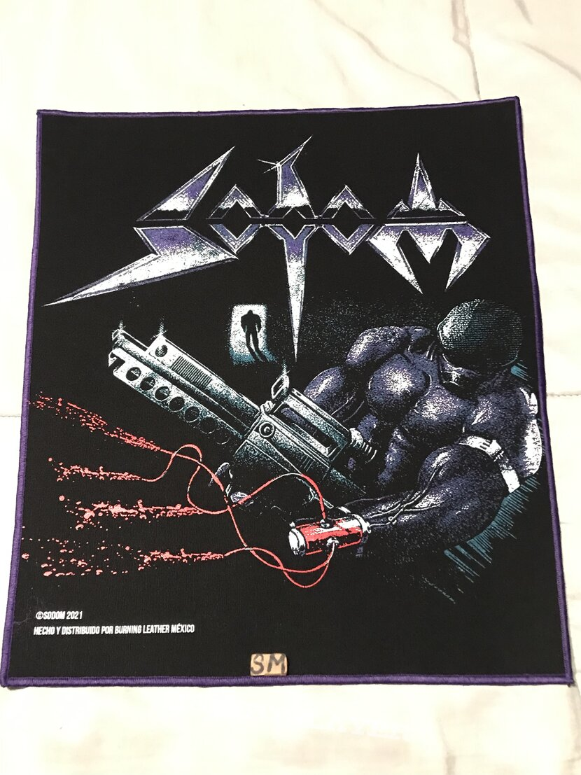 Sodom Tapping The Vein back patch purple border