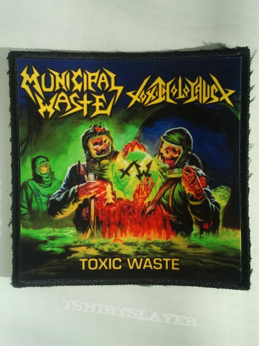 """Municipal Waste / Toxic Holocaust """"Toxic Waste (Split)"""" square printed patch"""