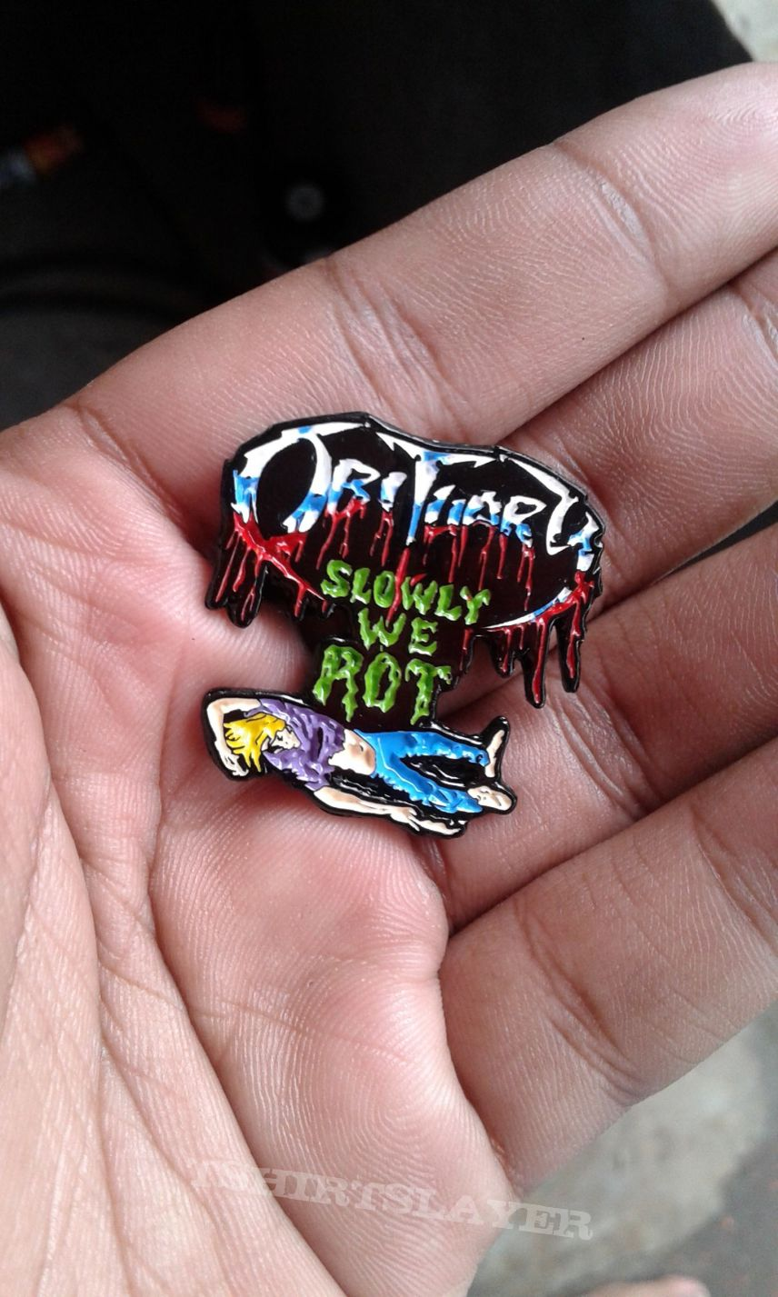 Obituary enamel pin
