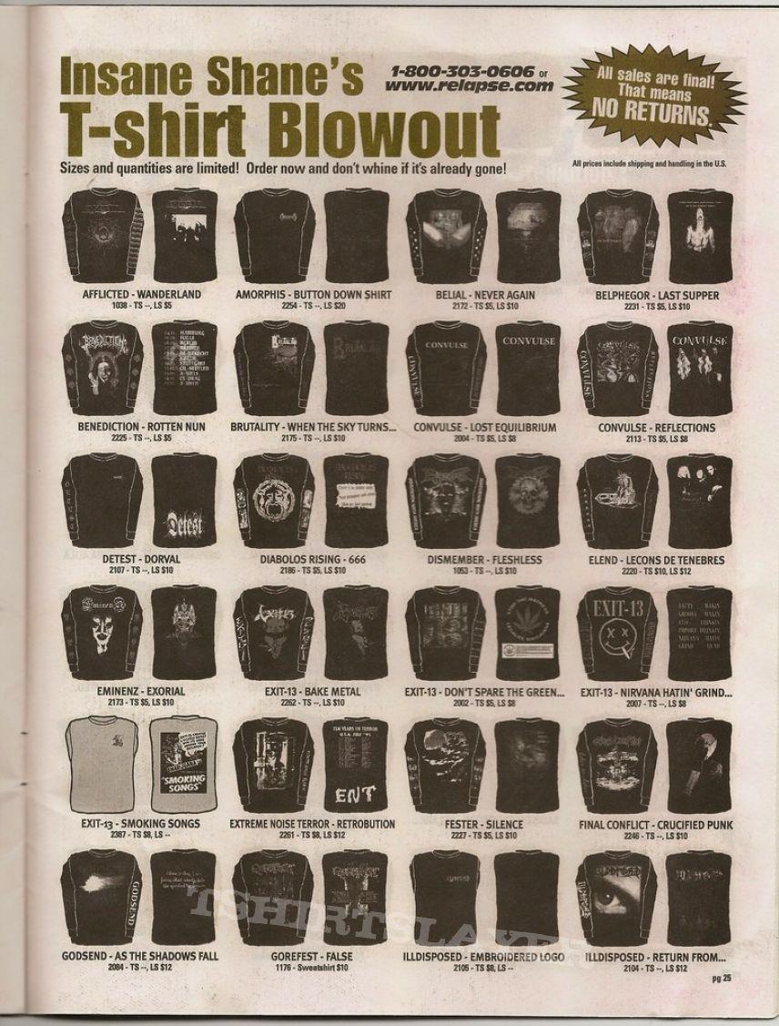 Relapse Records T-Shirt Catalogs 97-99 | TShirtSlayer TShirt
