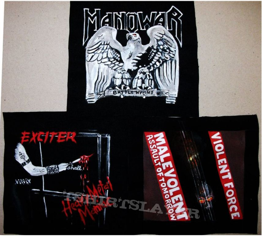 Handpainted small patches made by Oldschool Crew- Exciter , Manowar , Violent Force