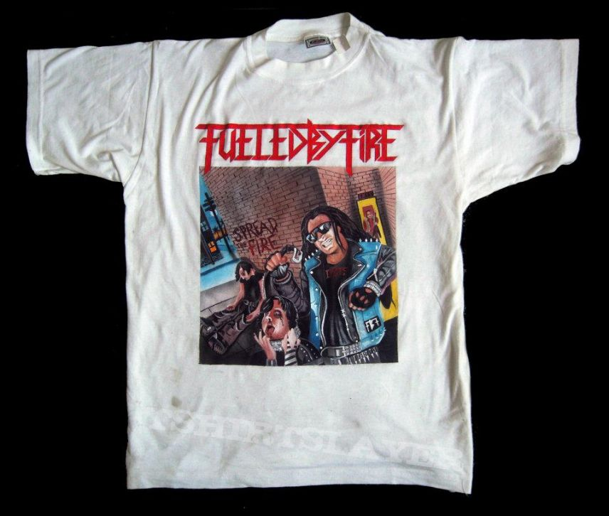 Handpainted tshirt - Fueled By Fire  made by Oldschool Crew