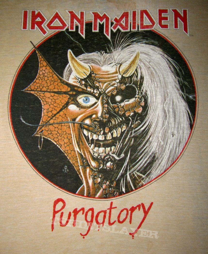 IRON MAIDEN Purgatory T-shirt (camo-sleeve) 1982-83 US