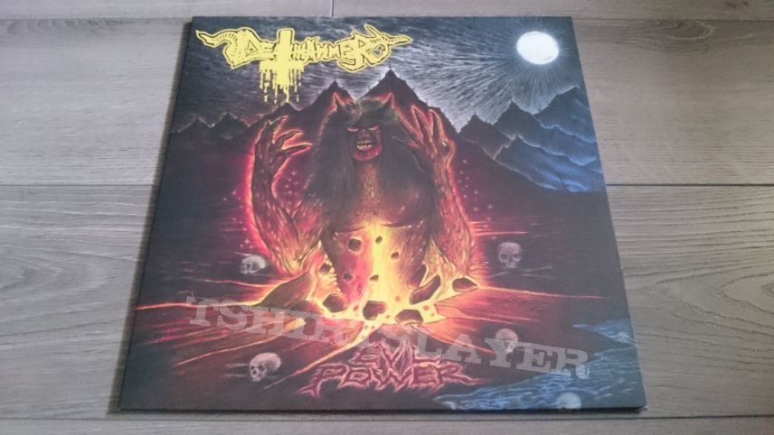 "Deathhammer - Evil Power 12"" Yellow / Blue Vinyl + Poster"