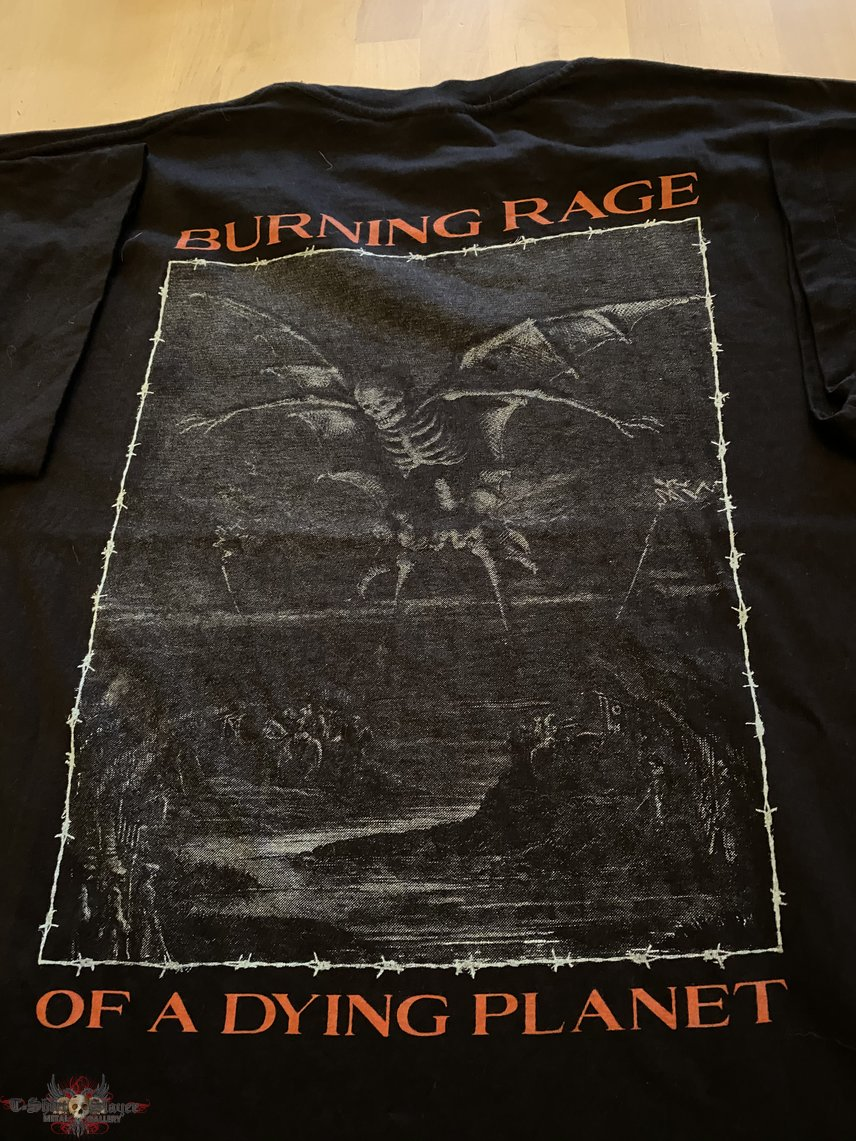 """caged """"burnin g rage of a dying planet"""" t-shirt"""