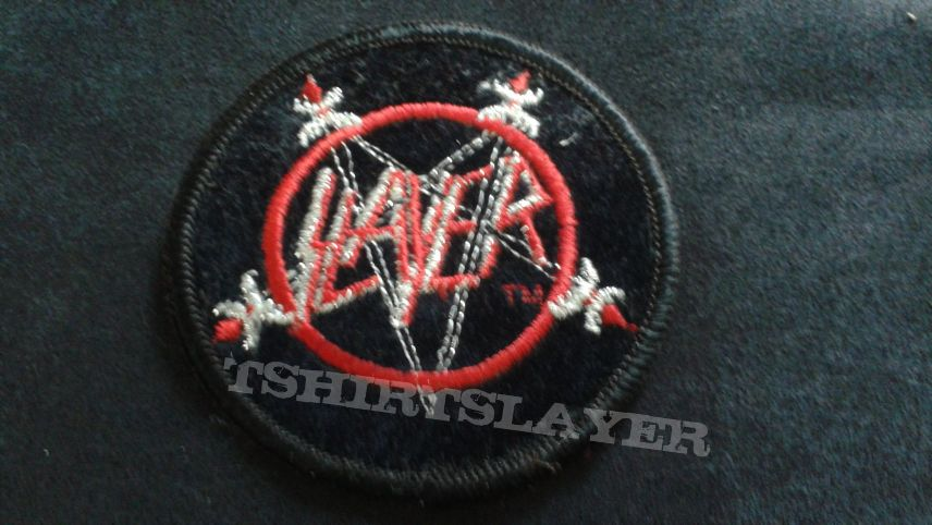 Slayer embroidered circle logo patch.