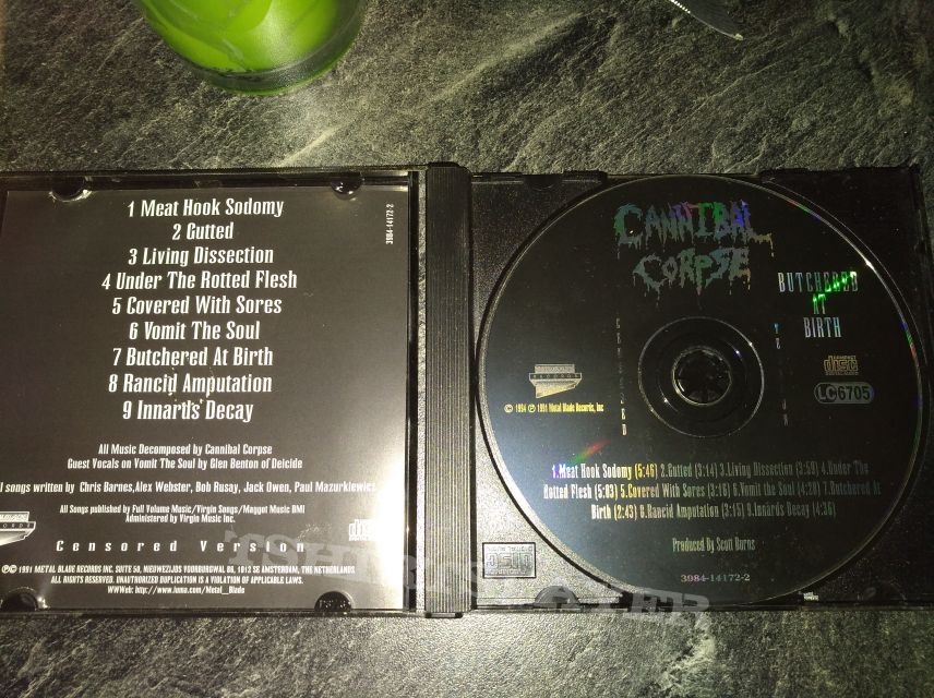 Cannibal Corpse Butchered at Birth Censored Cd