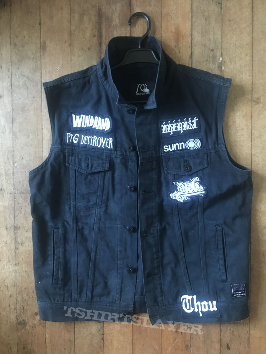 Doom Metal Denim Sleeveless Battle Jacket Waistcoat Vest L