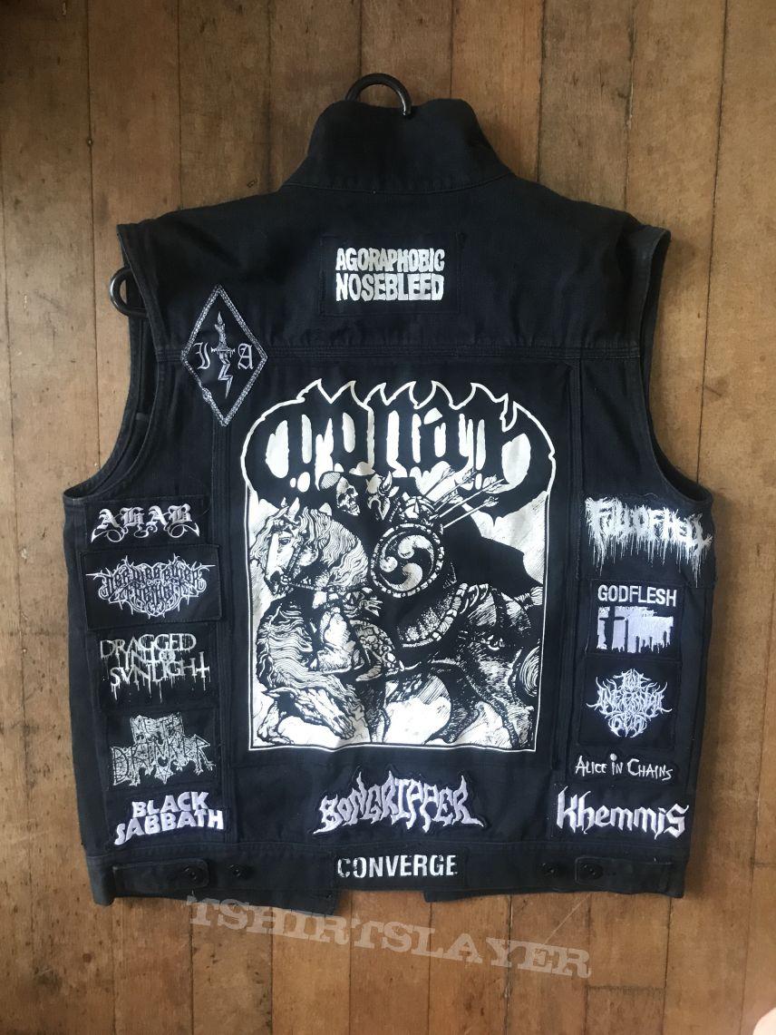 Doom Metal Denim Sleeveless Battle Jacket Waistcoat Vest L