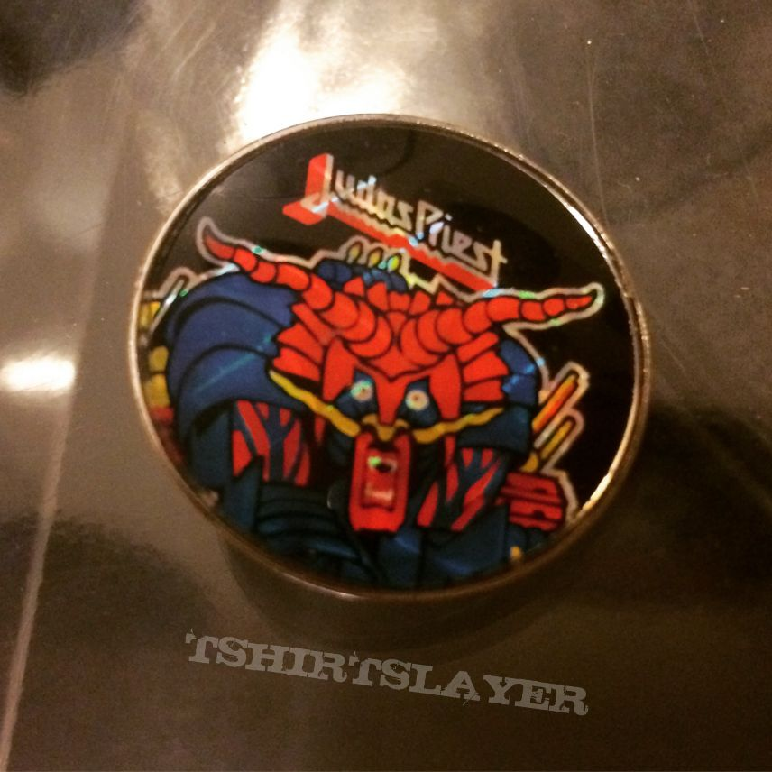 Judas Priest Defenders of the Faith prism badge pin