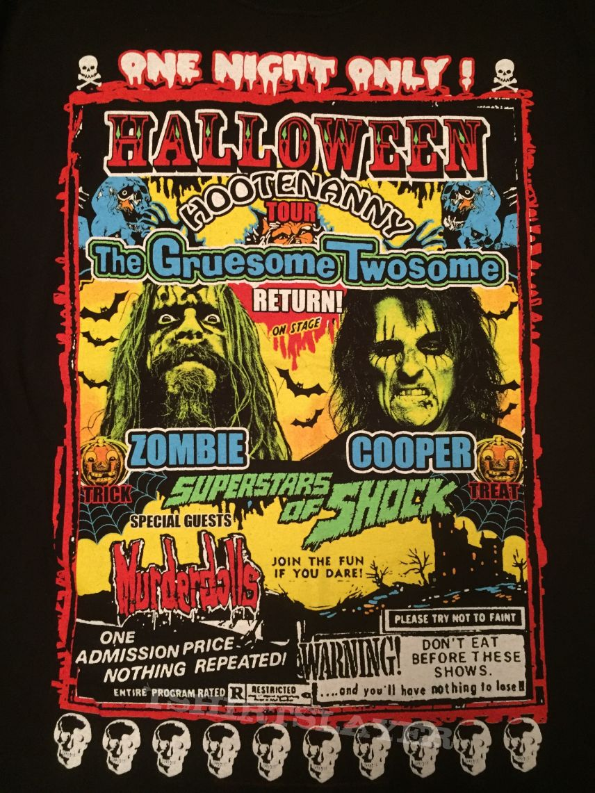 alice cooper rob zombie halloween hootenanny 2010 tour shirt