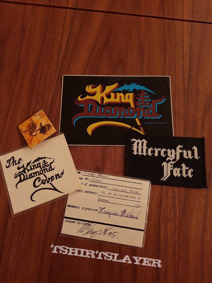 King Diamond Fan Club badge ID, signed picture, sticker etc