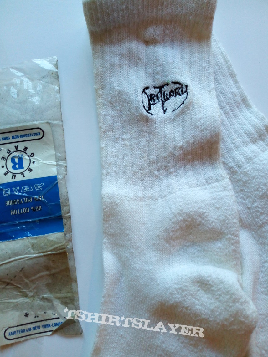 Obituary official vintage slowly we rot white sports socks