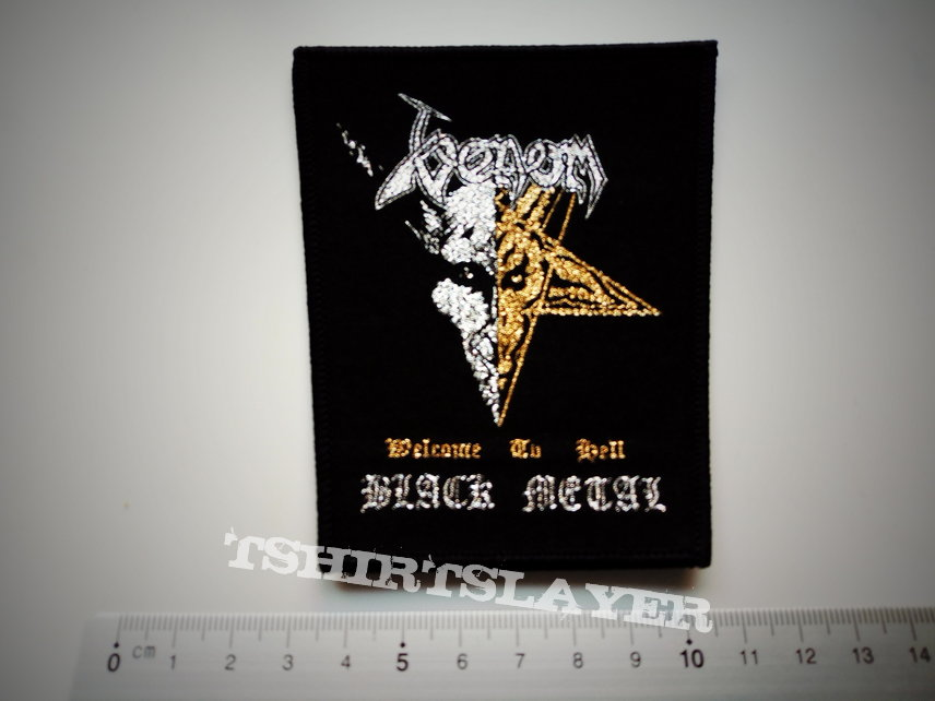 Venom welcome to hell+black metal patch v215 gold and silver print