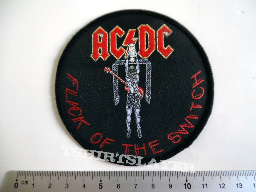 AC/DC flick of the switch  1985 patch 90 new 9.5 cm silver print