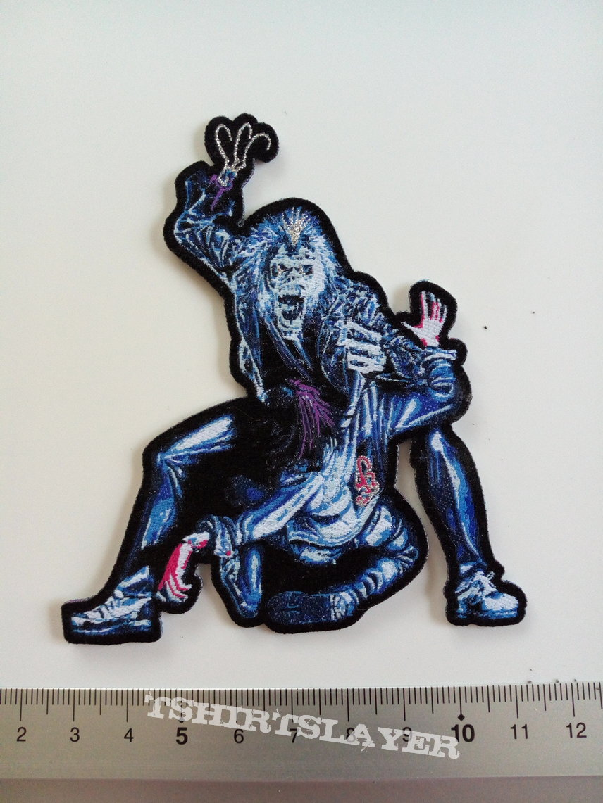 Iron Maiden shaped patch 305 Hooks in you   8.5 x 10 cm