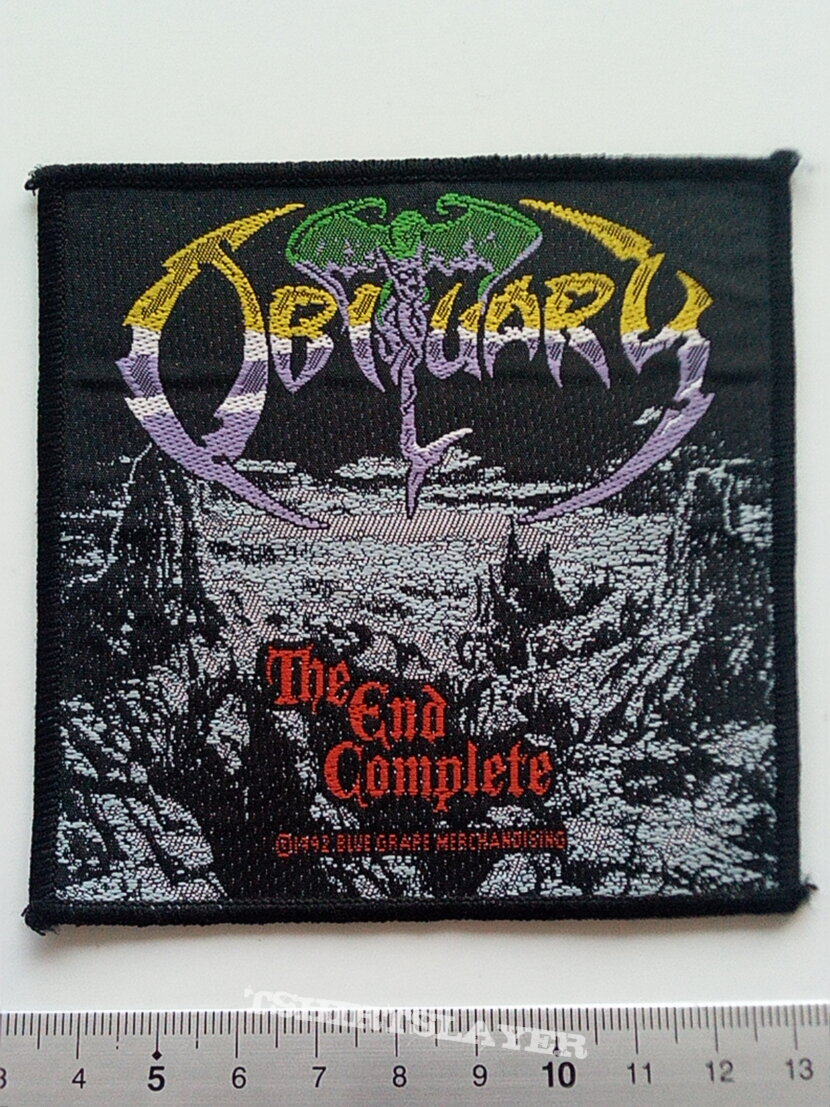 Obituary the end complete official 1992 patch o53--- 10x10 cm