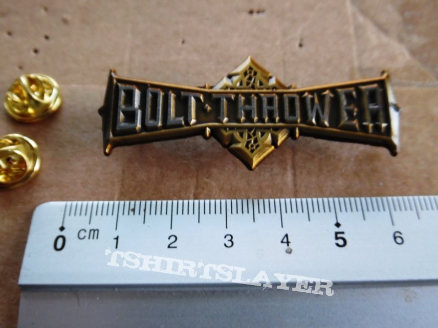 Bolt Thrower shaped pin badge n2