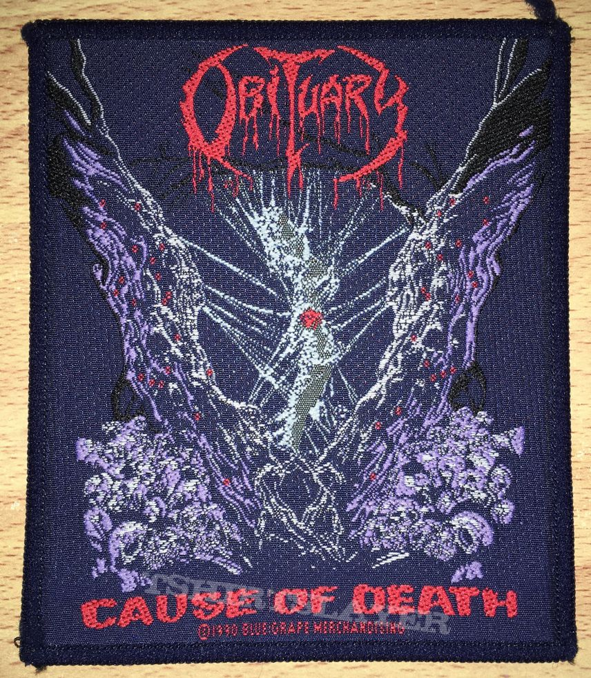 Vintage Obituary Cause Of Death Woven Patch
