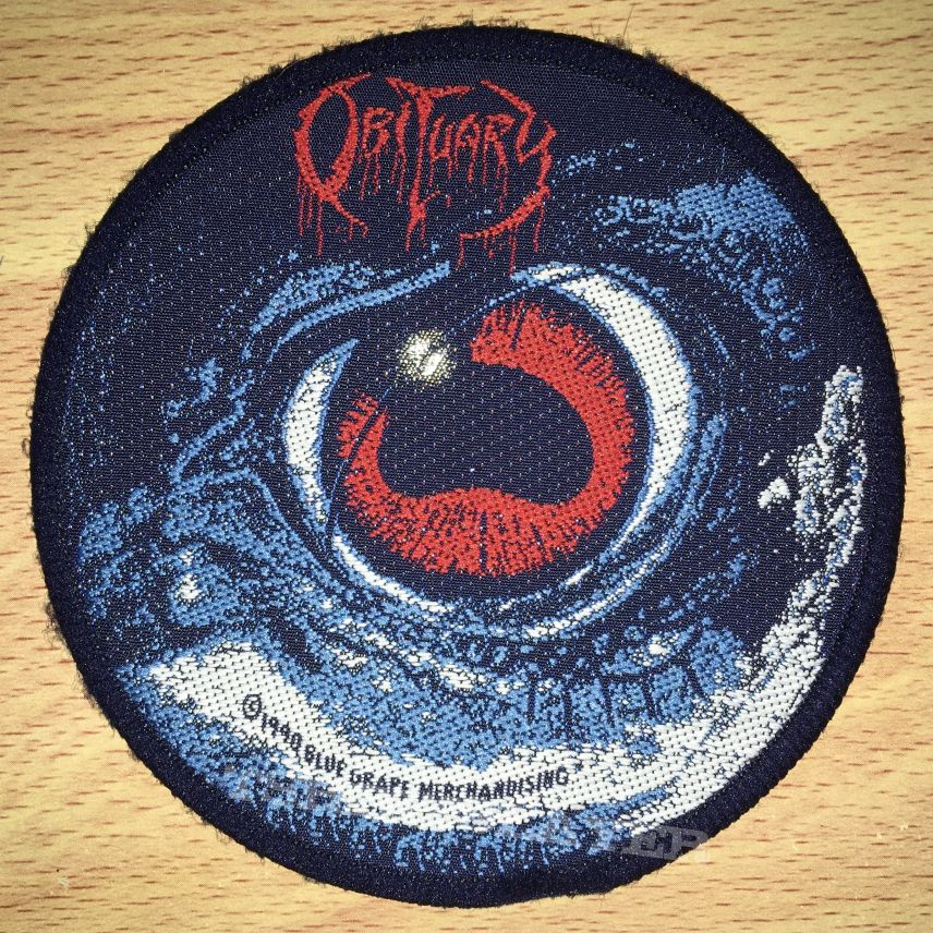 Vintage Obituary Cause Of Death Woven Circle Patch