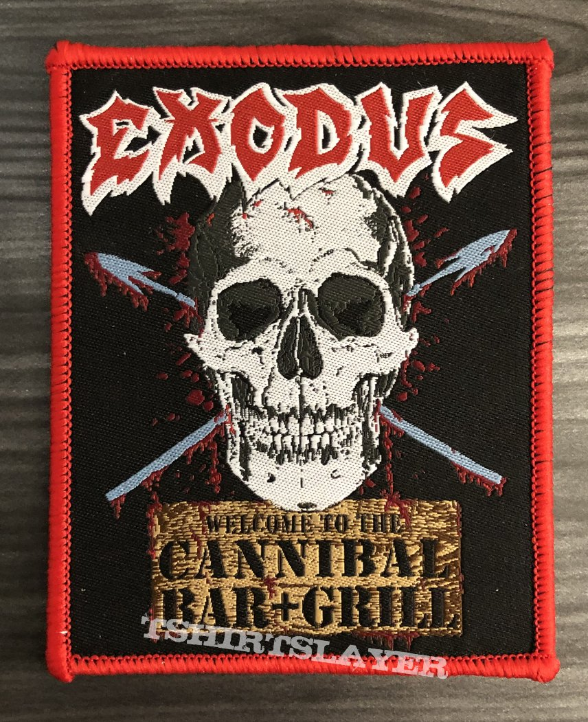 Exodus Cannibal Bar + Grill Woven Patch (Red Border)