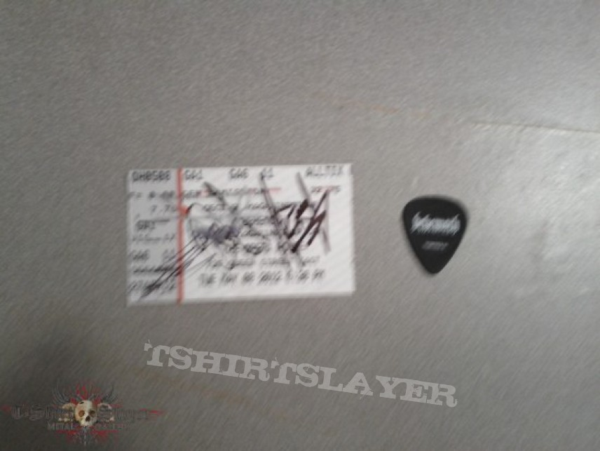 Other Collectable - Behemoth pick and signed ticket stub