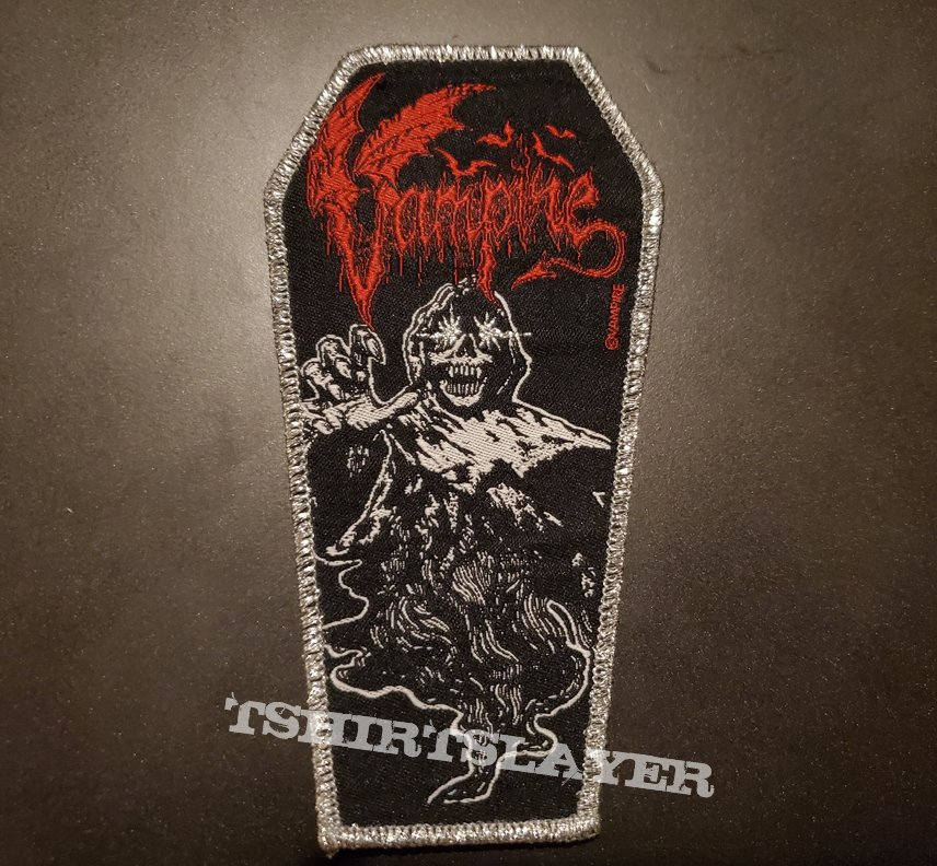 Vampire: official coffin patch, silver border