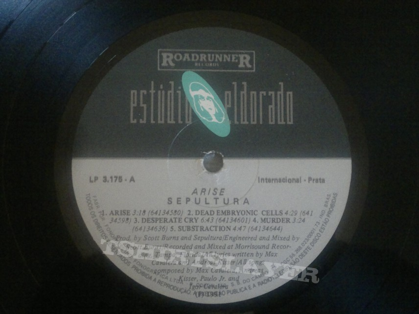 "Sepultura - ""Arise"" Rough Mixes Brazilian Edition LP"