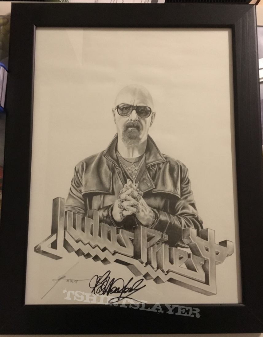 Rob Halford Judas Priest signed Drawing