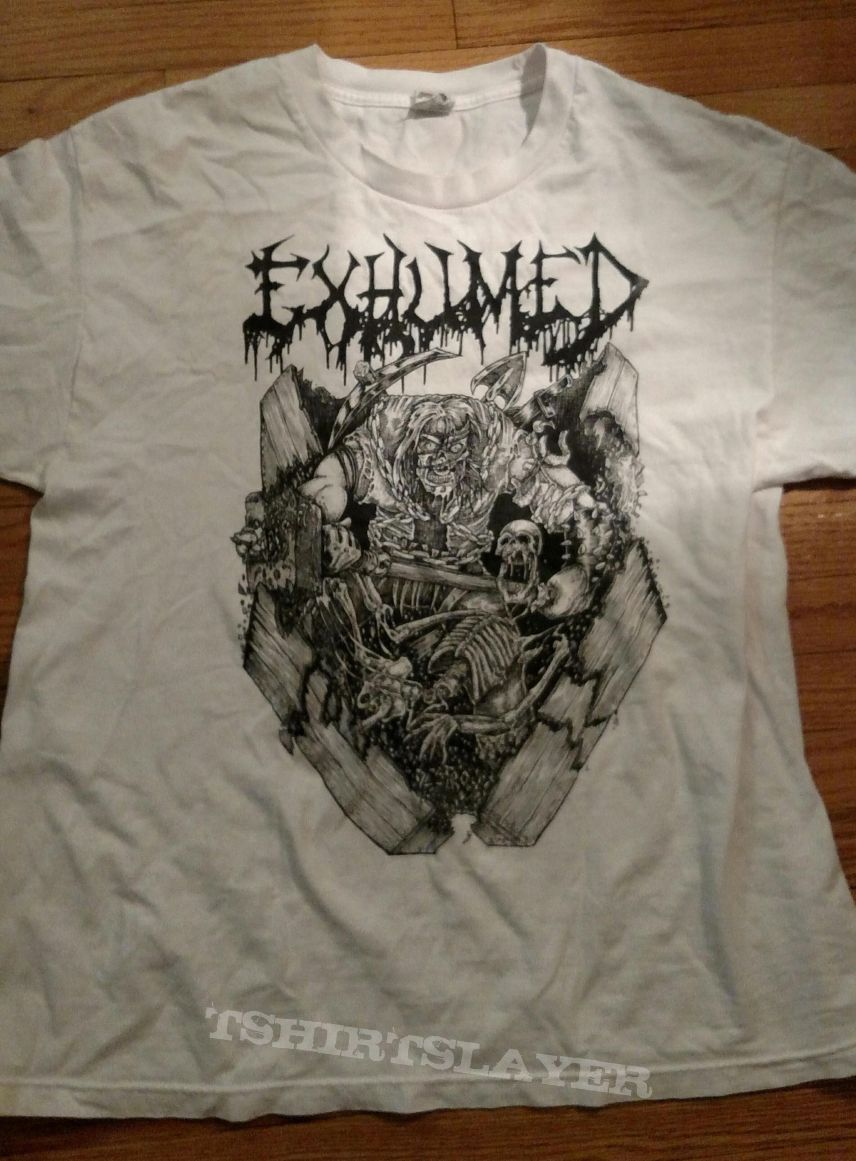 Exhumed Casket Crusher White T