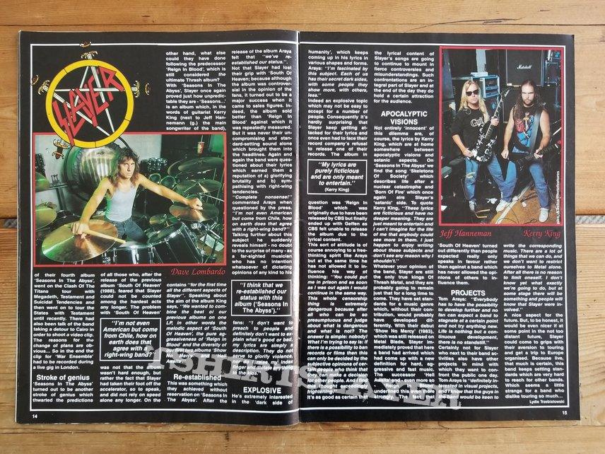 Slayer ' Seasons In The Abyss ' Original Promotional Vinyl L.P. + Promotional Posters + Ads