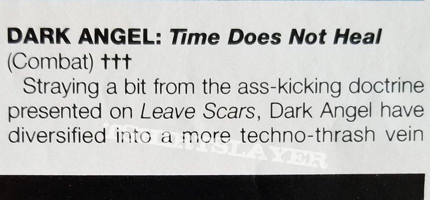 Dark Angel ' Time Does Not Heal ' Original Vinyl  LP + Promotional Poster + Ads