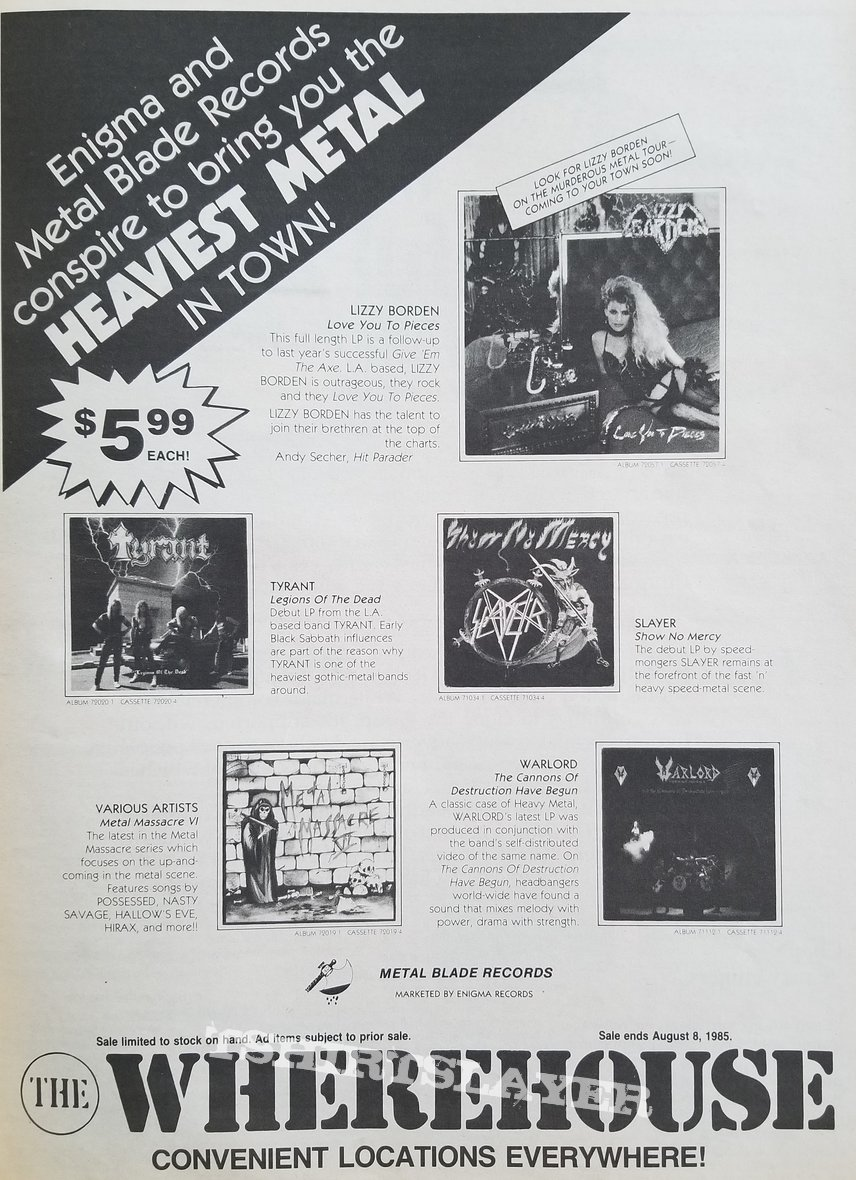 Slayer ' Show No Mercy ' Original Vinyl LP + Slayer ' Haunting The Chapel ' Original Vinyl EP + Promotional Ads