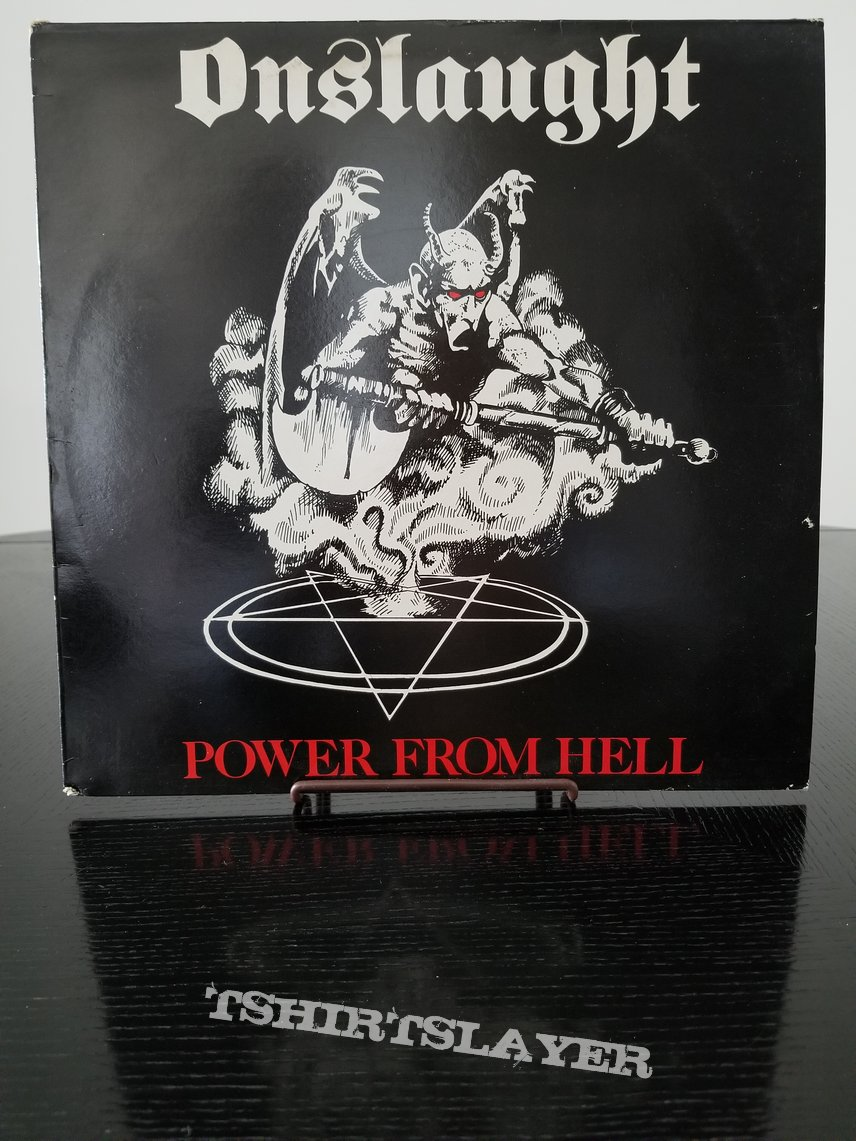 Onslaught ' Power From Hell ' Original Vinyl LP + Promotional / Tour Poster