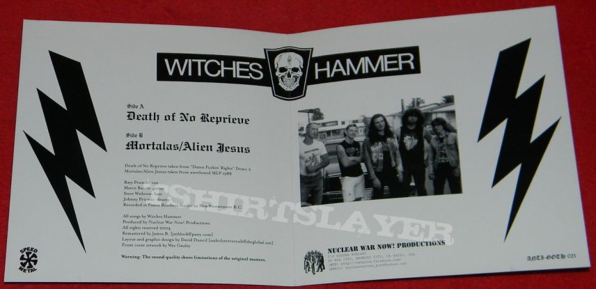 Witches Hammer - Death of no reprieve - Single