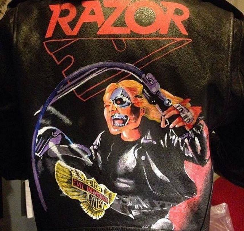 Razor: Evil Invaders hand painted on leather
