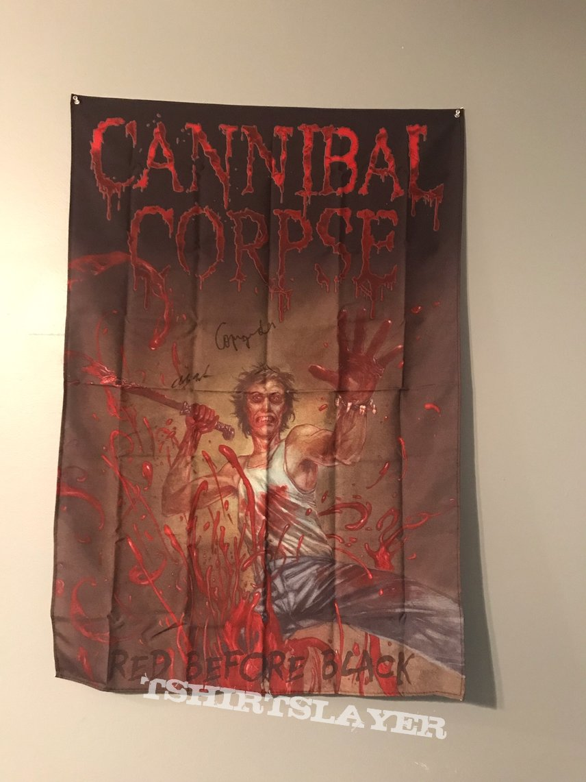 Cannibal Corpse Pick and Signed Jacket, Flag, and Ticket