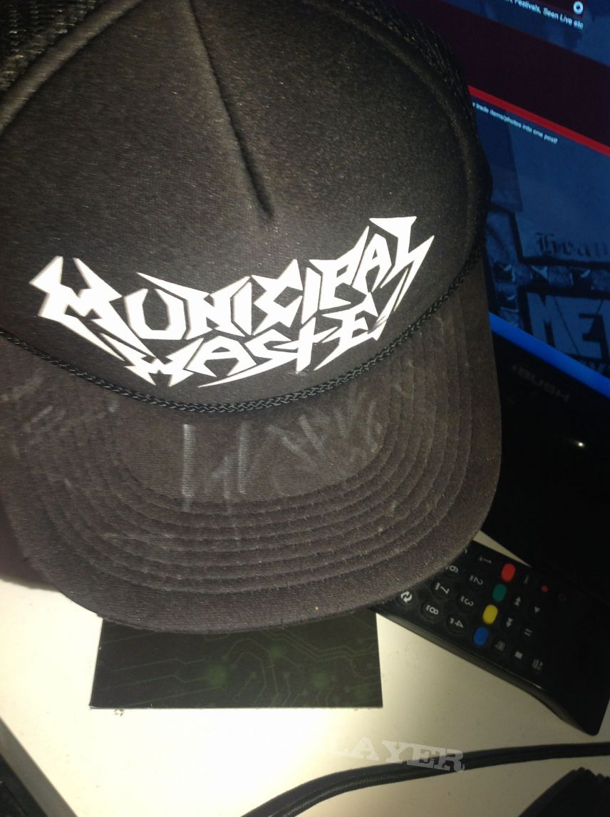 Municipal Waste Hat Signed by the Band