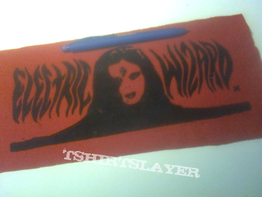 d.i.y. hand painted electric wizard backpatch
