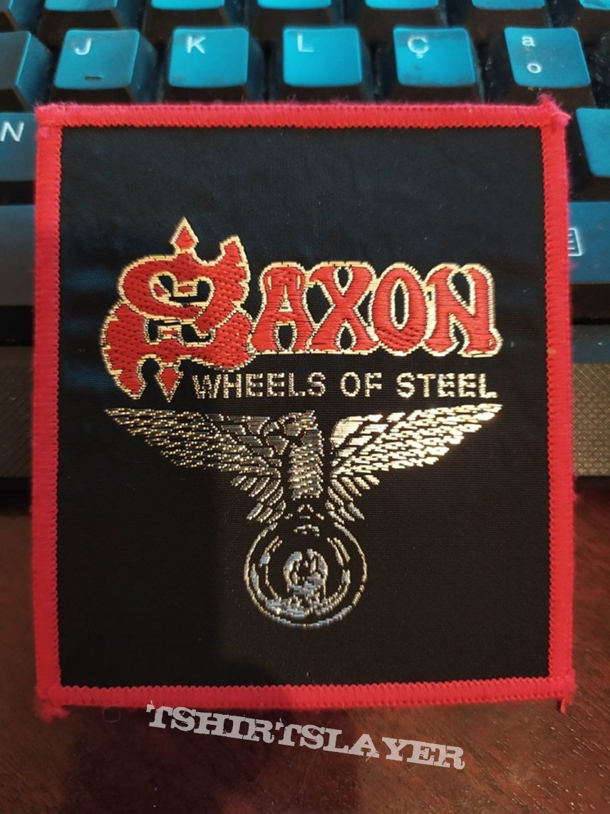 """Official Vintage Saxon """"Wheels Of Steel"""" Patch (red-bordered version)"""
