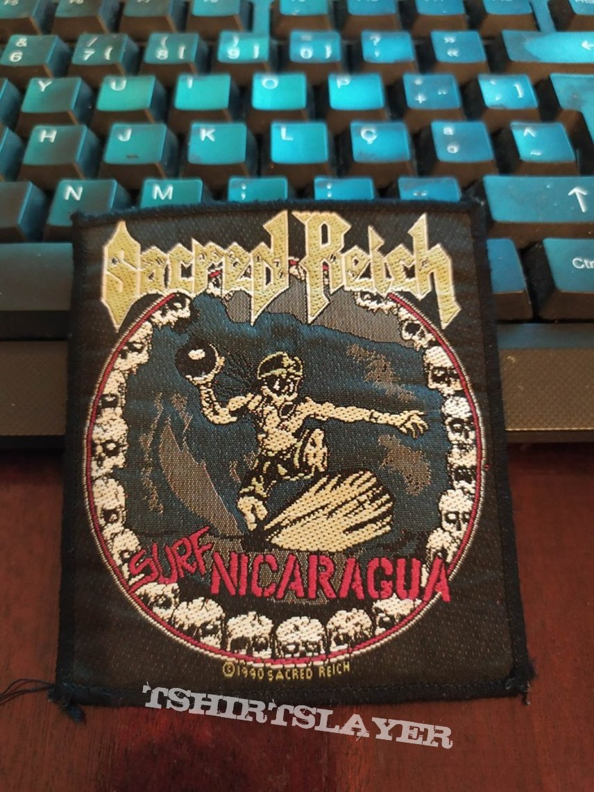 """Official 1990 Sacred Reich """"Surf Nicaragua"""" Patch"""