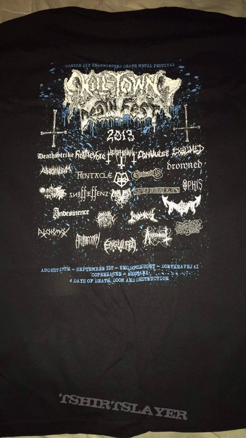 Rottrevore hung by the eyesockets 2013 Killtown Deathfest shirt
