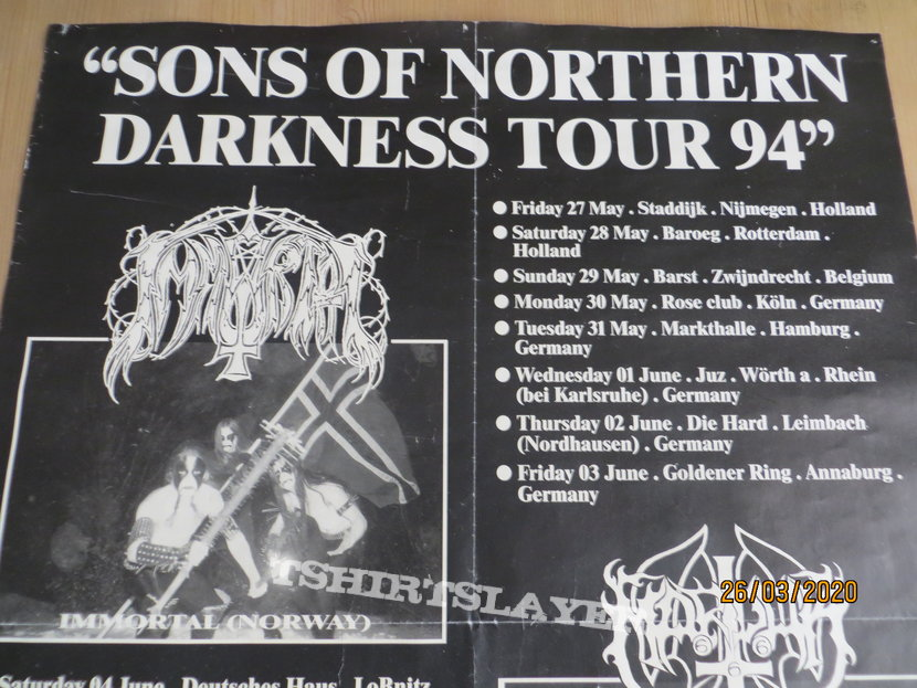 Immortal/Marduk Sons of Northern Darkness TourPoster 1994