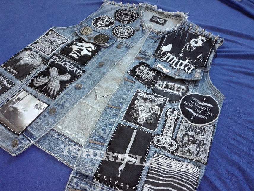 Black and White on Blue Denim Finished